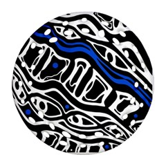 Deep blue, black and white abstract art Ornament (Round Filigree)