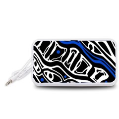 Deep blue, black and white abstract art Portable Speaker (White)
