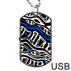 Deep blue, black and white abstract art Dog Tag USB Flash (Two Sides)