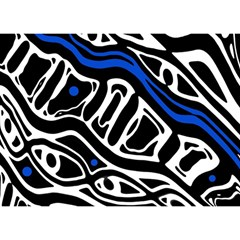 Deep blue, black and white abstract art Birthday Cake 3D Greeting Card (7x5)