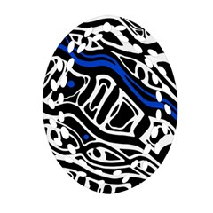 Deep blue, black and white abstract art Ornament (Oval Filigree)