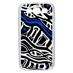 Deep blue, black and white abstract art Samsung Galaxy S III Case (White)