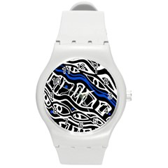Deep blue, black and white abstract art Round Plastic Sport Watch (M)