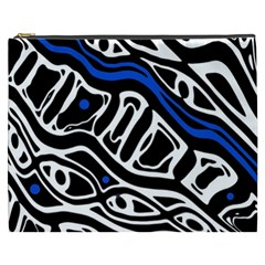 Deep blue, black and white abstract art Cosmetic Bag (XXXL)