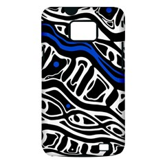 Deep blue, black and white abstract art Samsung Galaxy S II i9100 Hardshell Case (PC+Silicone)