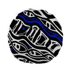 Deep blue, black and white abstract art Standard 15  Premium Round Cushions