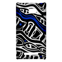 Deep blue, black and white abstract art HTC 8X