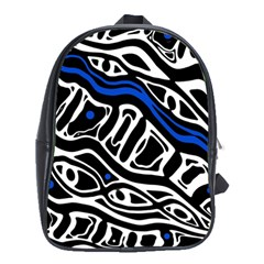 Deep blue, black and white abstract art School Bags (XL)