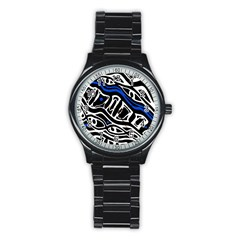 Deep blue, black and white abstract art Stainless Steel Round Watch