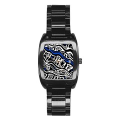 Deep blue, black and white abstract art Stainless Steel Barrel Watch