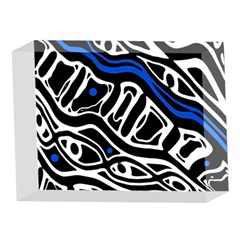 Deep blue, black and white abstract art 5 x 7  Acrylic Photo Blocks