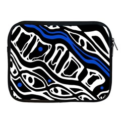 Deep blue, black and white abstract art Apple iPad 2/3/4 Zipper Cases