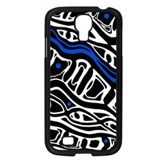 Deep blue, black and white abstract art Samsung Galaxy S4 I9500/ I9505 Case (Black)