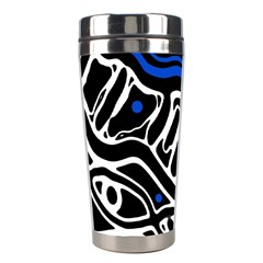 Deep blue, black and white abstract art Stainless Steel Travel Tumblers