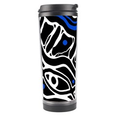Deep blue, black and white abstract art Travel Tumbler