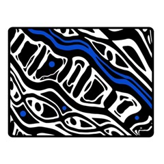 Deep blue, black and white abstract art Double Sided Fleece Blanket (Small)