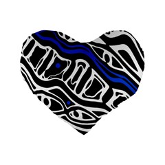 Deep blue, black and white abstract art Standard 16  Premium Flano Heart Shape Cushions