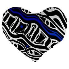 Deep blue, black and white abstract art Large 19  Premium Flano Heart Shape Cushions