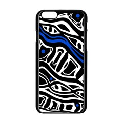 Deep blue, black and white abstract art Apple iPhone 6/6S Black Enamel Case