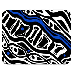 Deep blue, black and white abstract art Double Sided Flano Blanket (Medium)