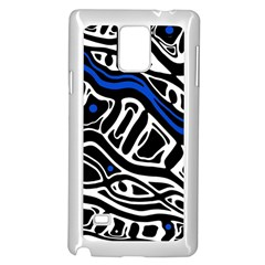 Deep blue, black and white abstract art Samsung Galaxy Note 4 Case (White)