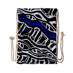 Deep blue, black and white abstract art Drawstring Bag (Small)