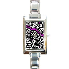 Purple, black and white abstract art Rectangle Italian Charm Watch