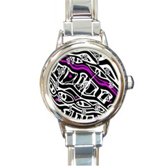Purple, Black And White Abstract Art Round Italian Charm Watch