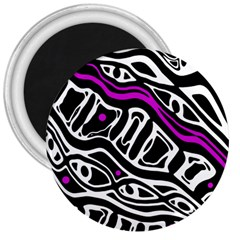 Purple, black and white abstract art 3  Magnets