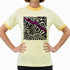 Purple, black and white abstract art Women s Fitted Ringer T-Shirts