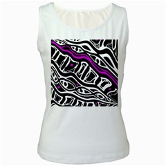 Purple, black and white abstract art Women s White Tank Top