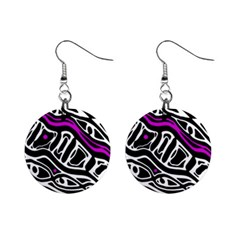 Purple, black and white abstract art Mini Button Earrings