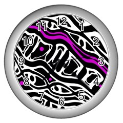 Purple, black and white abstract art Wall Clocks (Silver)