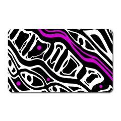 Purple, black and white abstract art Magnet (Rectangular)