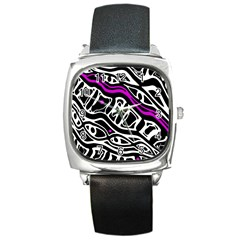 Purple, black and white abstract art Square Metal Watch