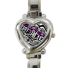 Purple, black and white abstract art Heart Italian Charm Watch