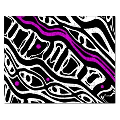Purple, black and white abstract art Rectangular Jigsaw Puzzl