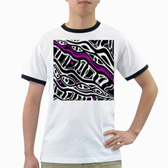 Purple, black and white abstract art Ringer T-Shirts