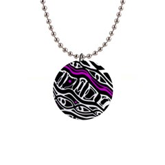 Purple, black and white abstract art Button Necklaces