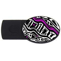 Purple, black and white abstract art USB Flash Drive Oval (4 GB)