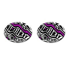 Purple, black and white abstract art Cufflinks (Oval)