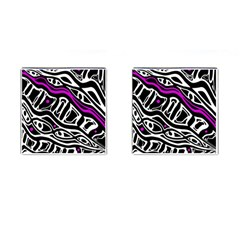 Purple, black and white abstract art Cufflinks (Square)