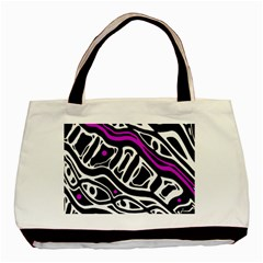 Purple, black and white abstract art Basic Tote Bag