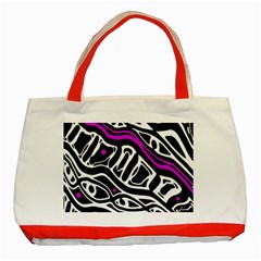 Purple, black and white abstract art Classic Tote Bag (Red)