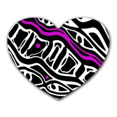Purple, black and white abstract art Heart Mousepads