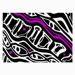 Purple, black and white abstract art Large Glasses Cloth