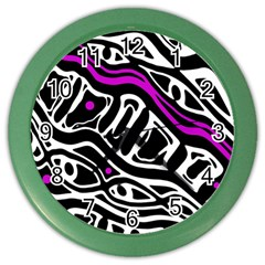 Purple, black and white abstract art Color Wall Clocks