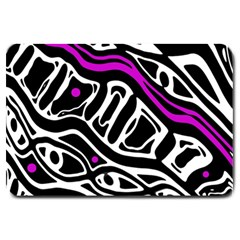 Purple, black and white abstract art Large Doormat