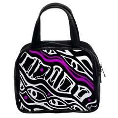 Purple, black and white abstract art Classic Handbags (2 Sides)