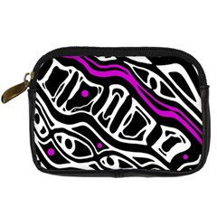 Purple, black and white abstract art Digital Camera Cases